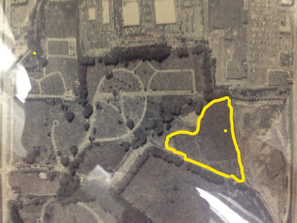 Greenlawn Cemetery, Aerial view 1977. 'Odd Fellows Section' highlighted in yellow. Monument indicated w. dotGreenLawn Cemetery, Aerial view 1977. 'Odd Fellows Section' highlighted in yellow. Monument indicated w. dot