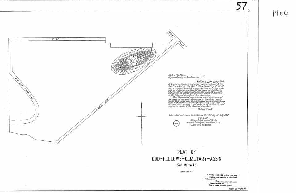 The original 'Green Lawn' Plot Map from 1904 indicates the owner of the area as Odd Fellow Cemetery Association. This is in error as the purchase of GreenLawn was made separate from Odd Fellows. The owners were individuals who had held positions on the board of the association but had made the purchase with other investors as a private group.